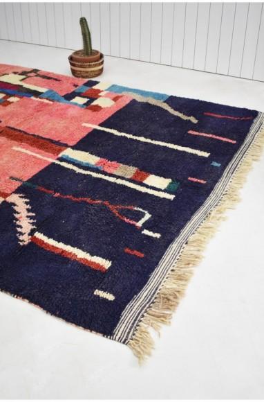 Berber carpet navy blue and pink