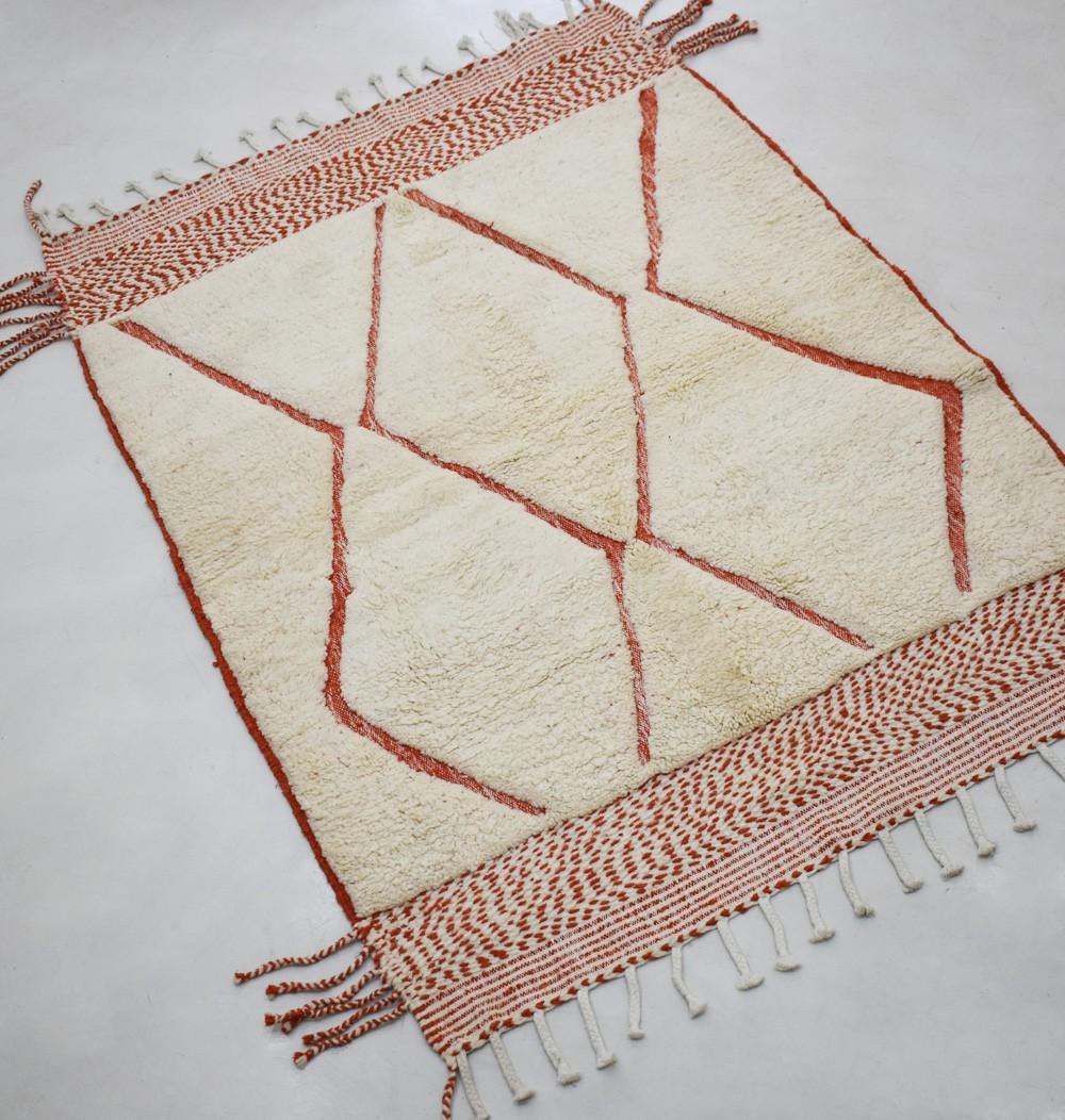 Beni Ouarain trame Kilim beige et rouge brique