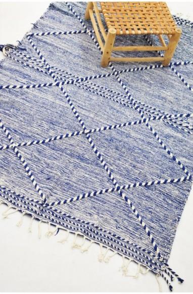 Tapis berbère losanges relief, beige et bleu