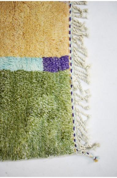 Tapis berbère Mrirt à bandes irrégulières colorées