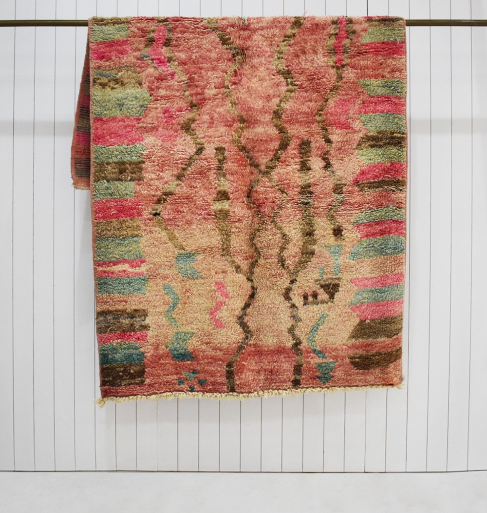 Berber rug aged look shades of pink and green