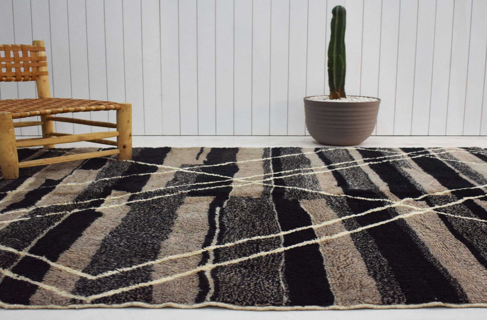 Berber carpet black, beige and gray