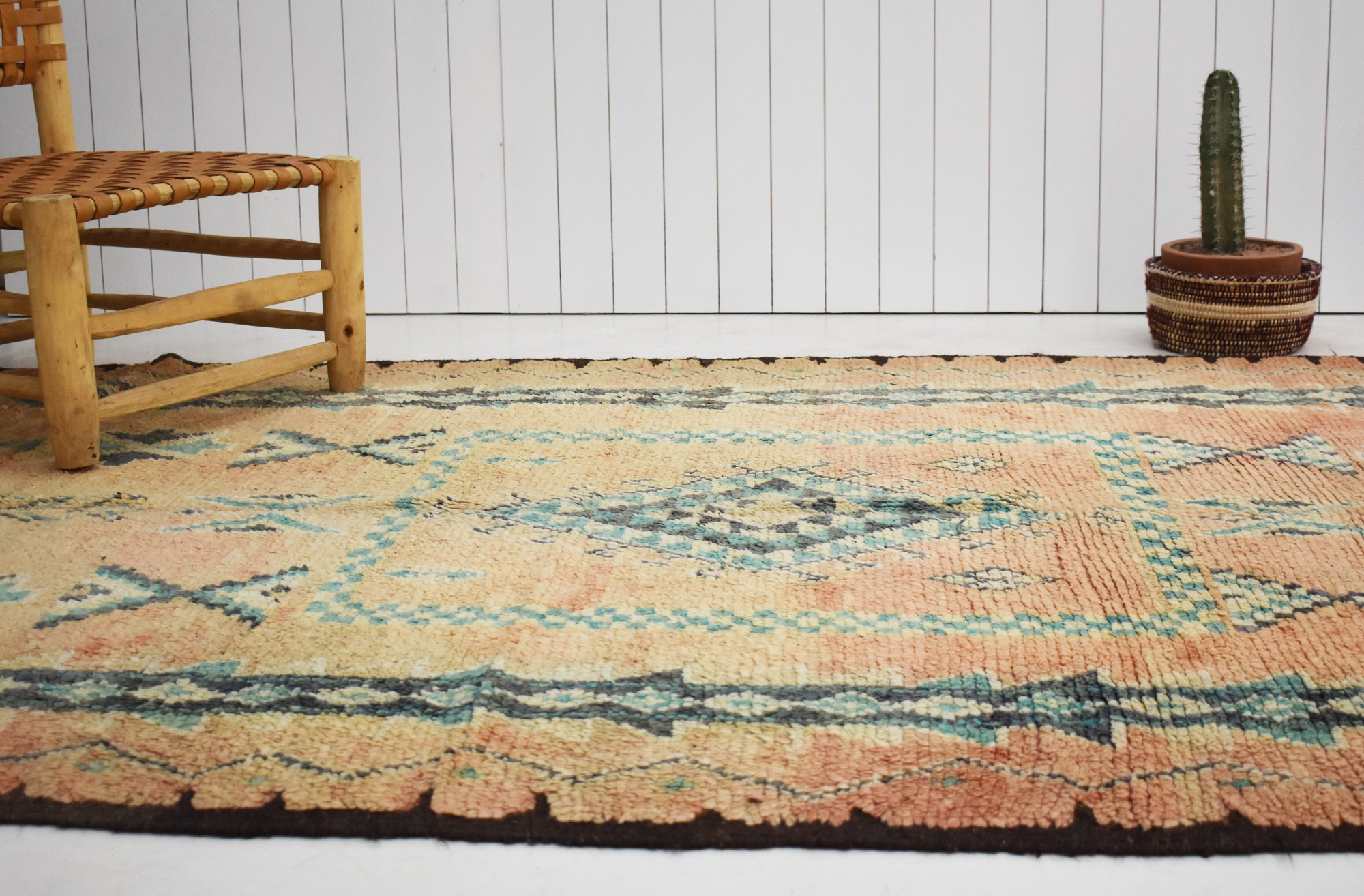 Vintage Berber rug in old pink and khaki green