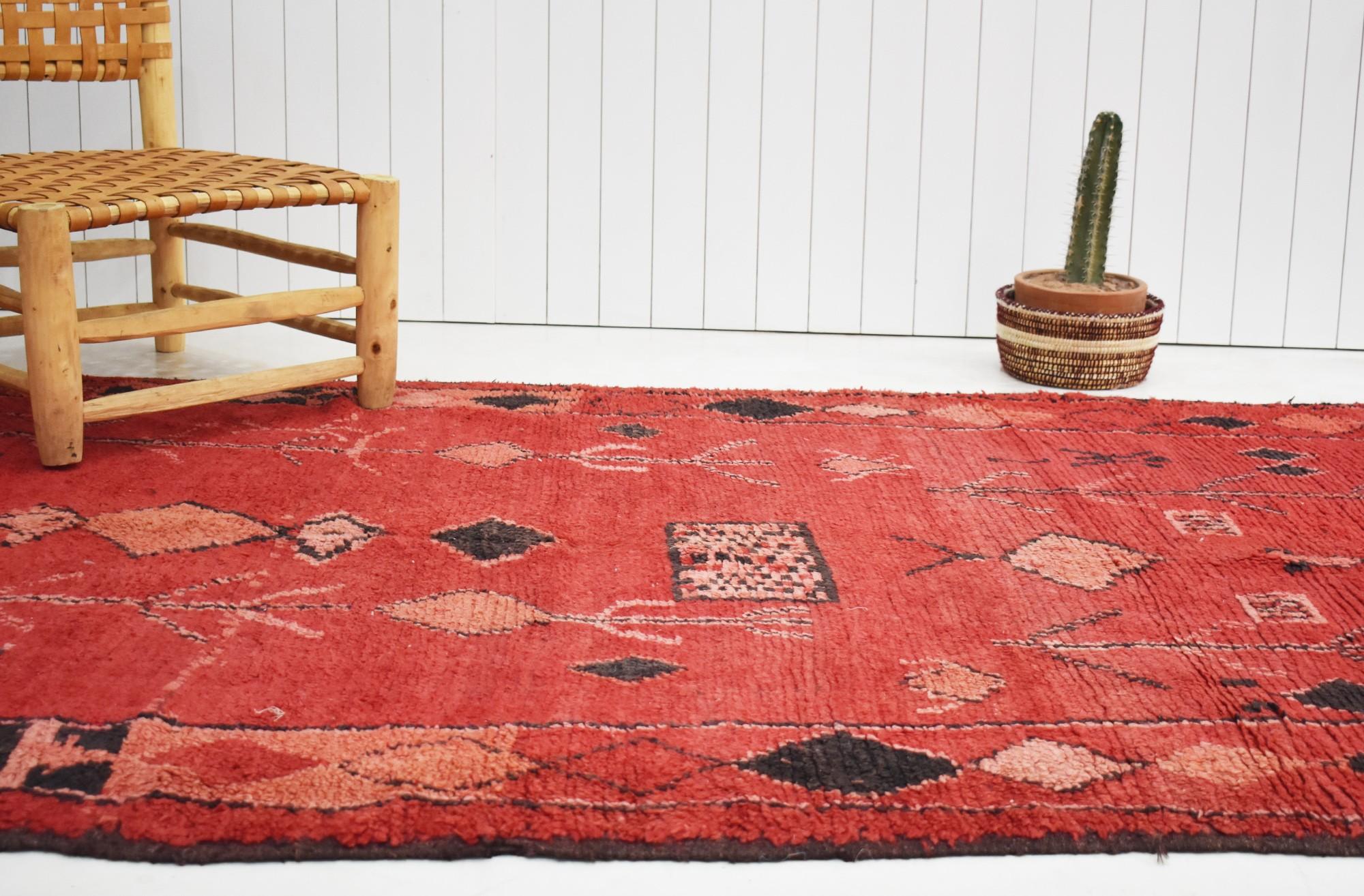 Petit tapis berbère vintage Orange Rouge