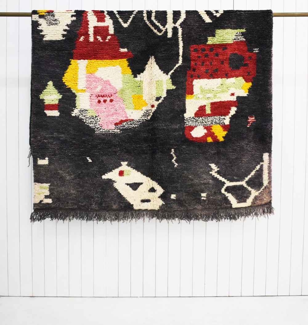Berber carpet Azilal predominantly black