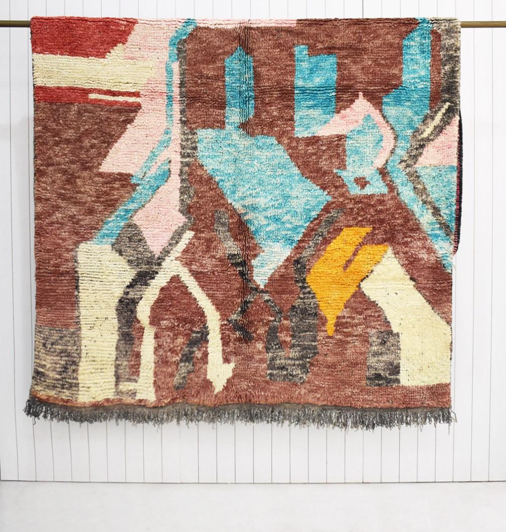 Berber rug Azilal pink blue brown