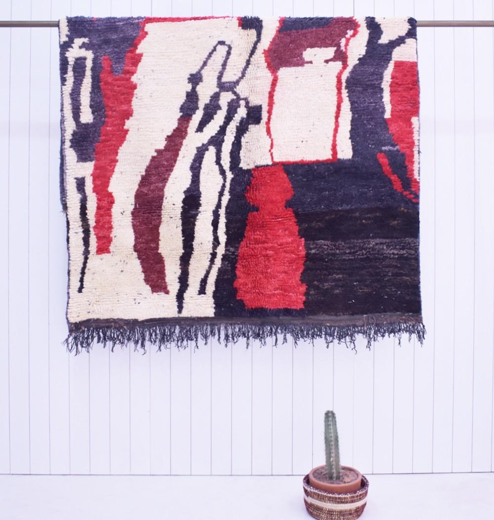 Berber carpet Azilal Blue White Red