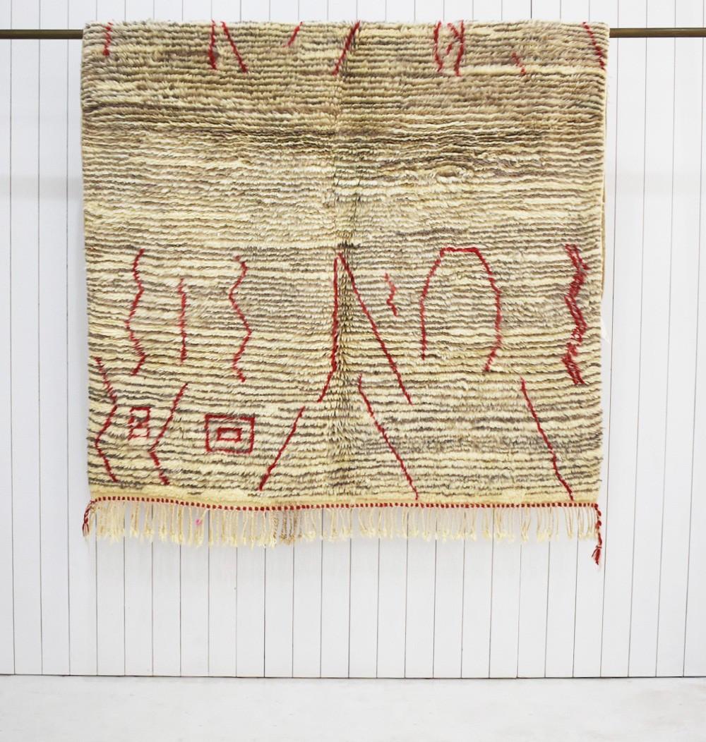 Petit tapis Berbère de type Azilal inscriptions rouge