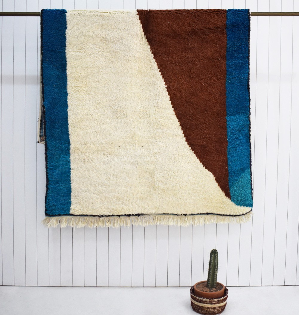 Petit tapis berbère Bleu roi, marron et beige