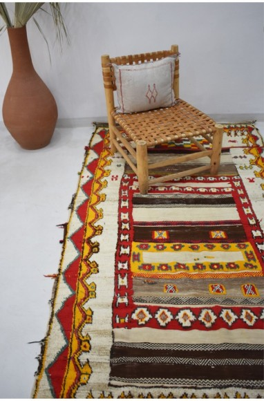 Tapis Berbère Glaoua beige, rouge et jaune
