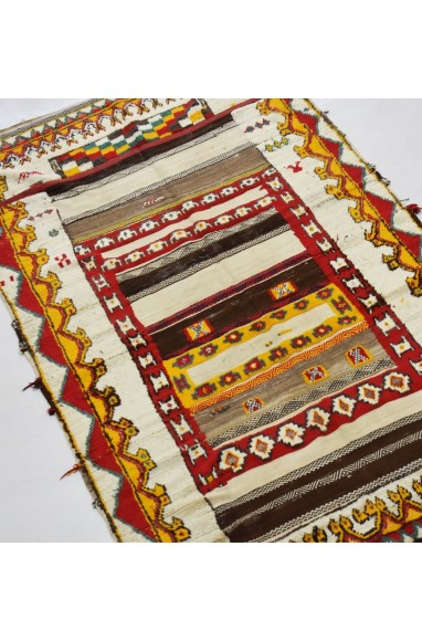 Berber carpet Glaoua beige, red and yellow