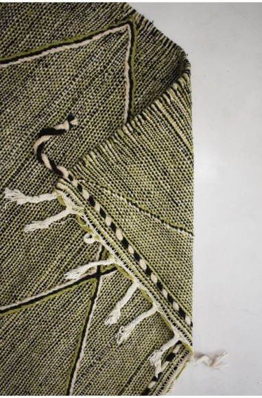 Tapis berbère Hanbel fond chiné avec vert anis