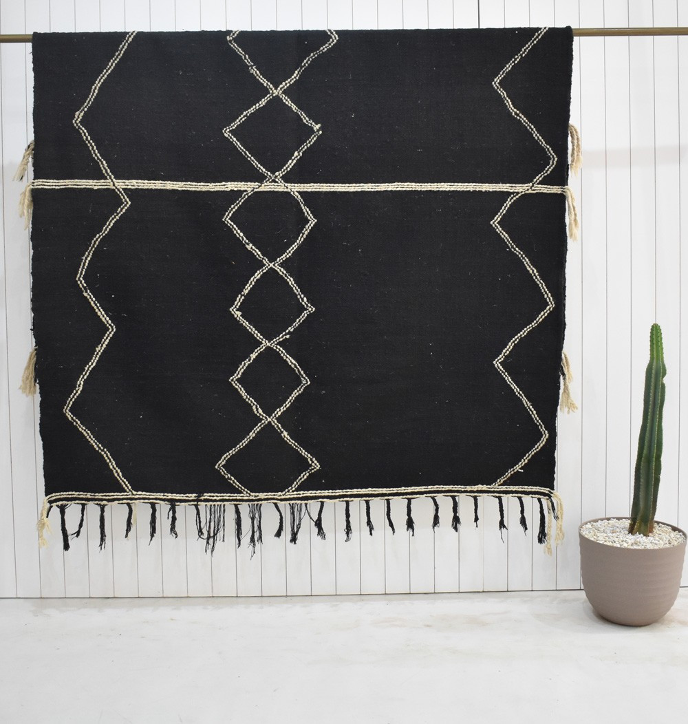 Berber carpet Hanbel black and white central diamond frieze