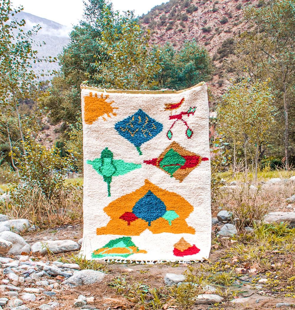Berber carpet in yellow tones