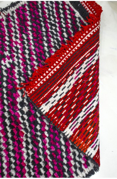 Small Berber carpet colorful lines