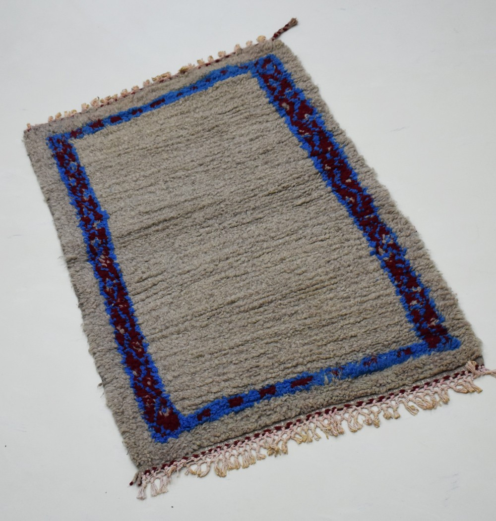 Small Berber carpet blue frame