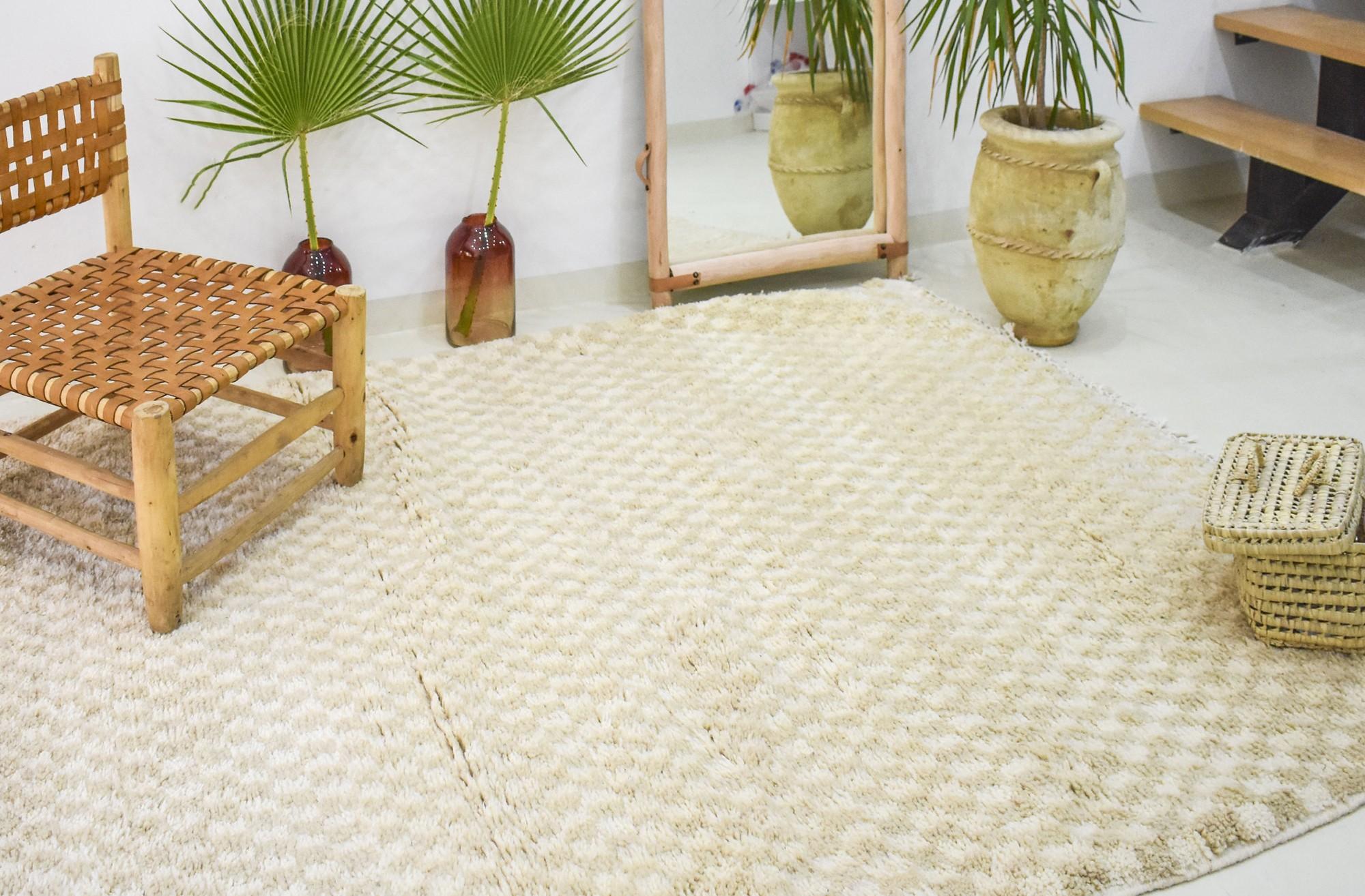 Grand tapis berbère mosaïques crèmes
