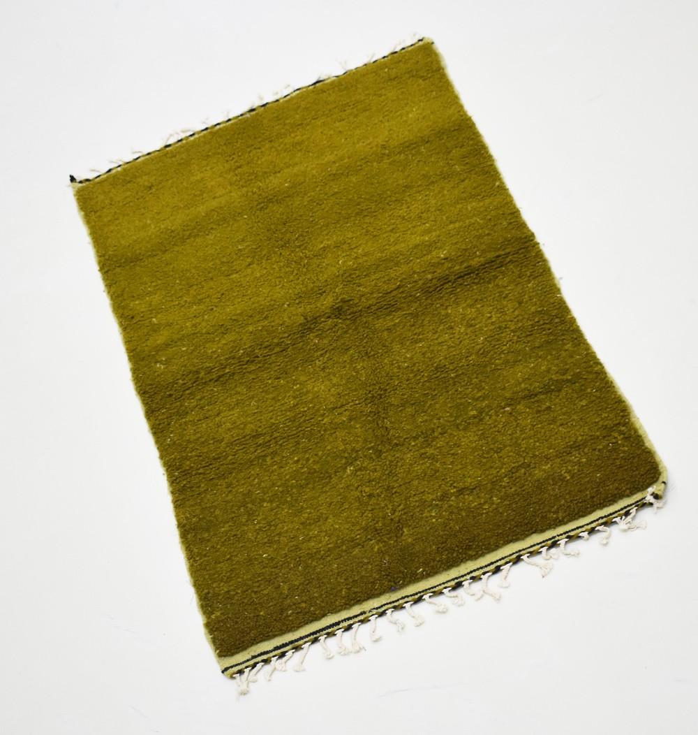 Plain pistachio green berber rug