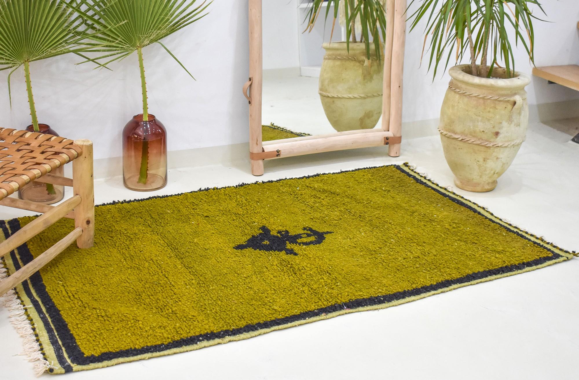 Berber carpet pistachio green with Berber pattern