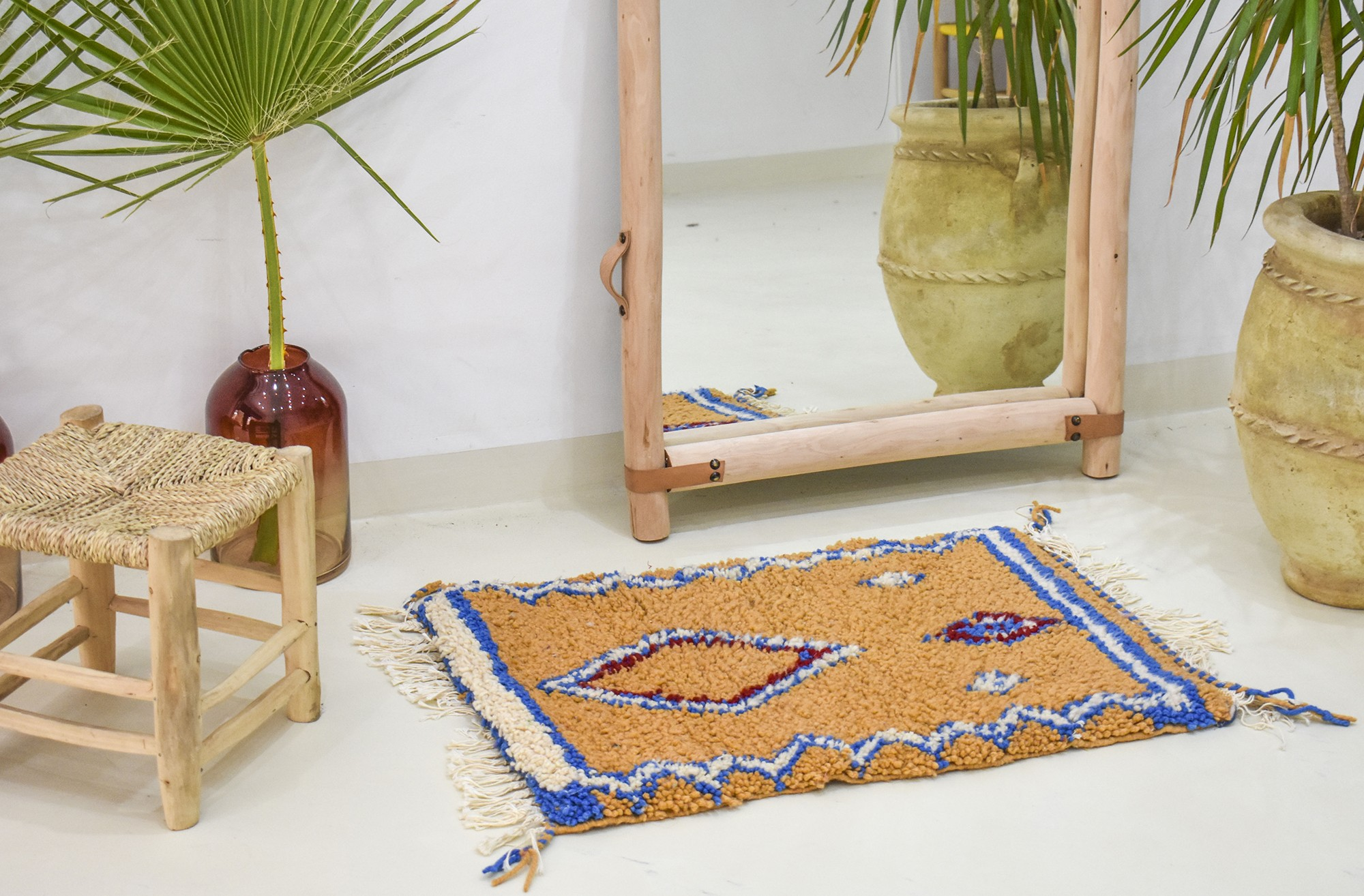 Small orange berber carpet
