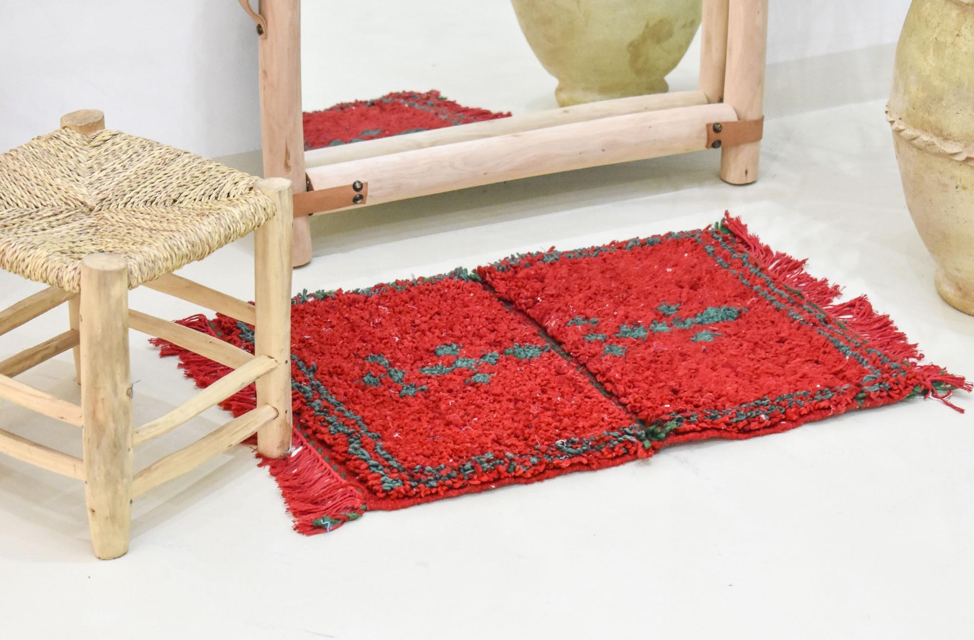 Petit tapis berbère rouge