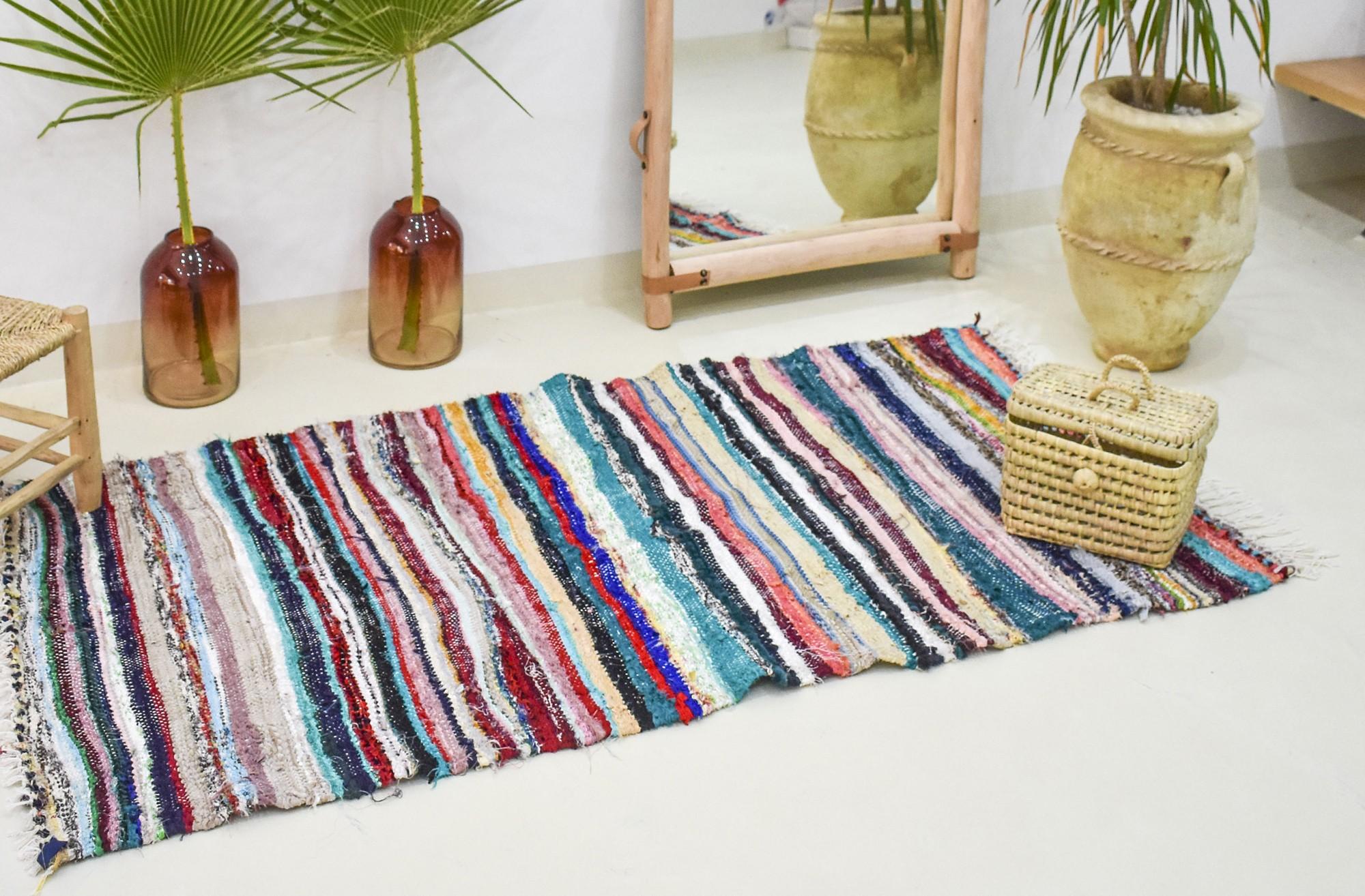 Flat woven colorful berber rug