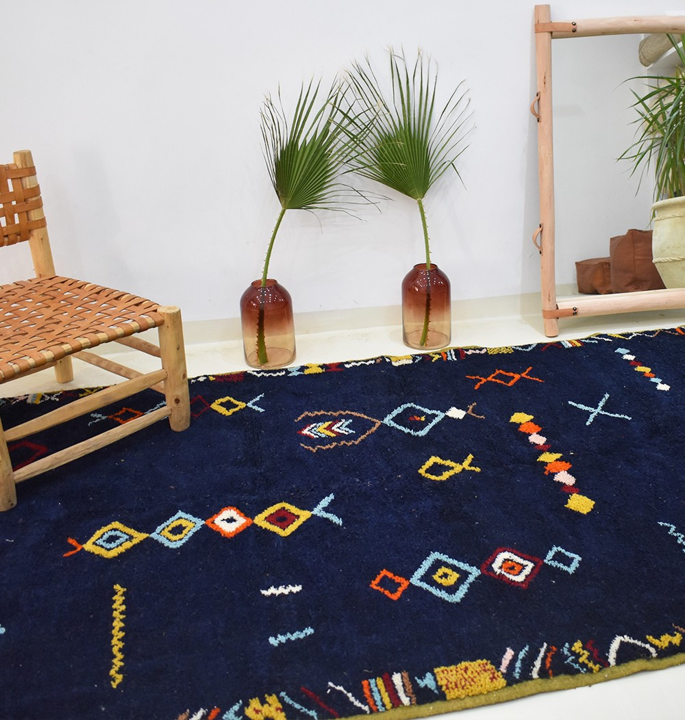 Blue Berber carpet with Berber patterns