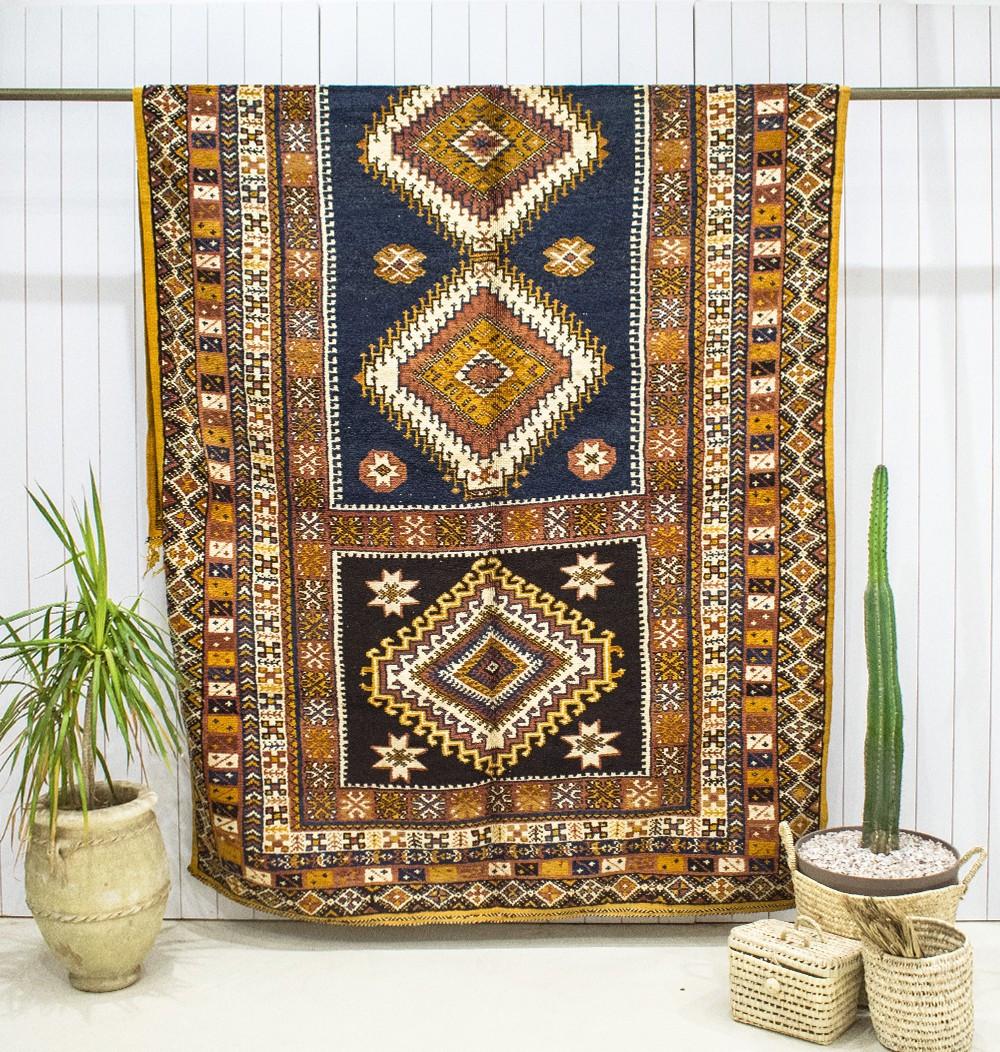 "Vintage ""Blue and mustard"" rug"