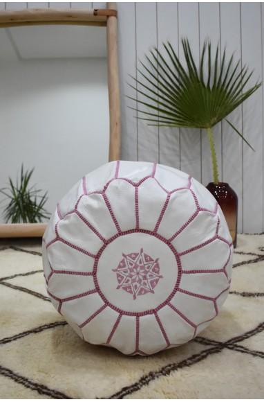 "White and pink round pouf ""Amaryllis"""