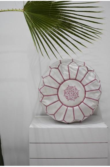 """Pouf rond blanc et rose """"Amaryllis"""""""