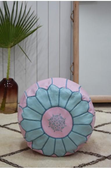 "Pouf rond rose et bleu ""Bleuet"""