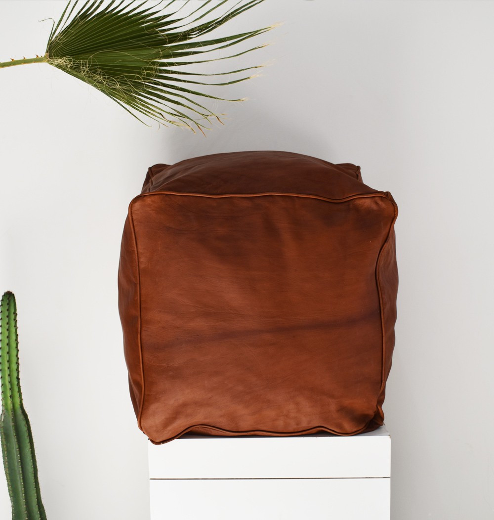 "Brown square ""Cube"" pouf"