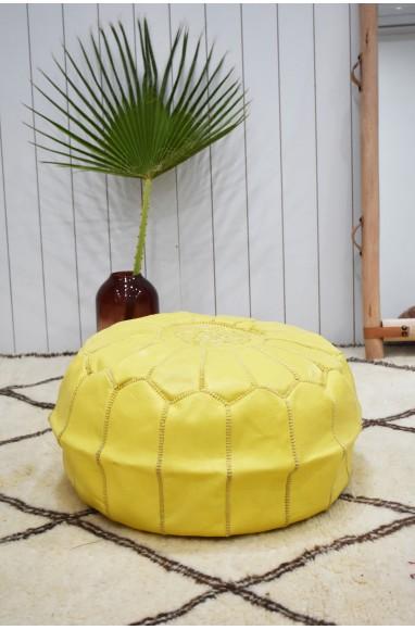 """Pouf rond """"Poussin"""" jaune"""