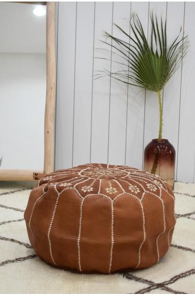 "Pouf rond ""Jardin fleuri"" marron et beige"