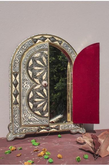 """Miroir fenêtre blanc et argent """"Rosaces"""""""