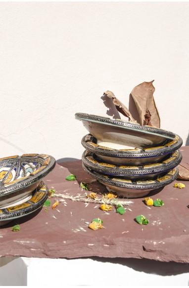 "Round hollow silver dish ""Losange"""