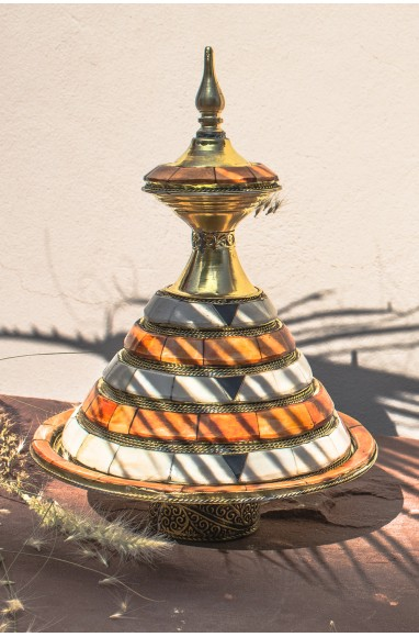 """Ceramic copper, bone and nickel silver """"Stylized tower"""""""