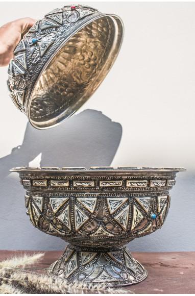 "Ceramic copper, bone and nickel silver ""Tajine"""