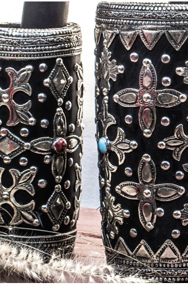 Céramique Mokhfia argentée et perlée