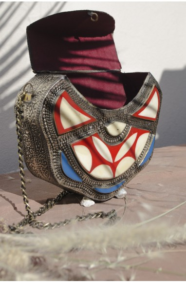 Small blue ivory red and silver bag