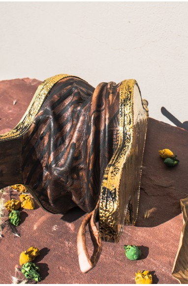 Soufflet artisanal décor os orange et métal argenté