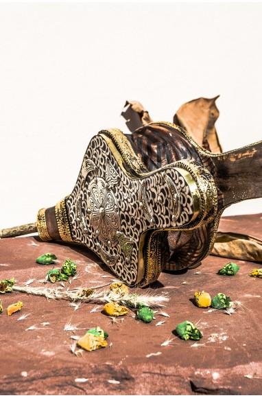 Soufflet artisanal décor os blanc et métal argenté