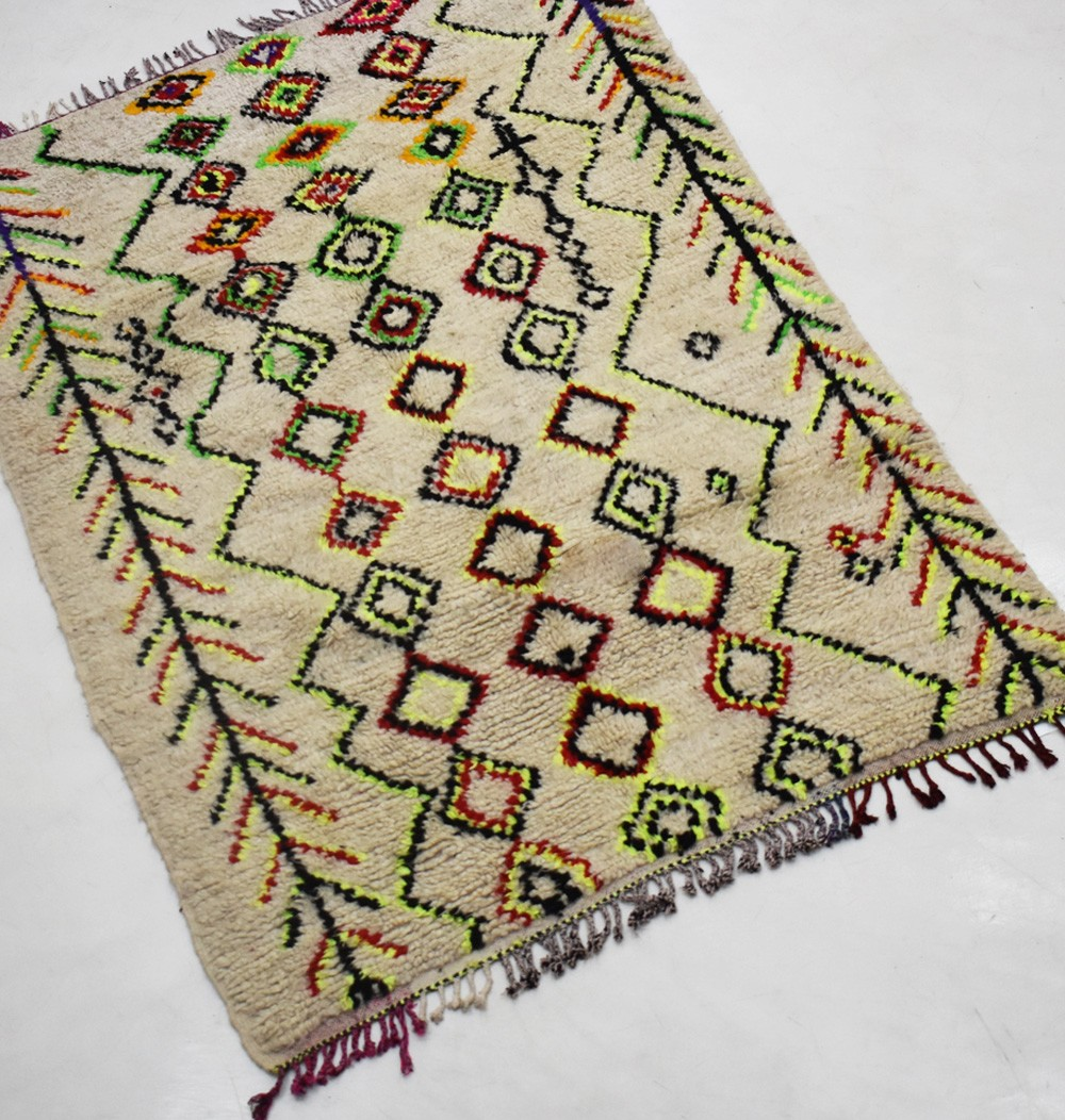 Vintage Berber carpet with orange shades