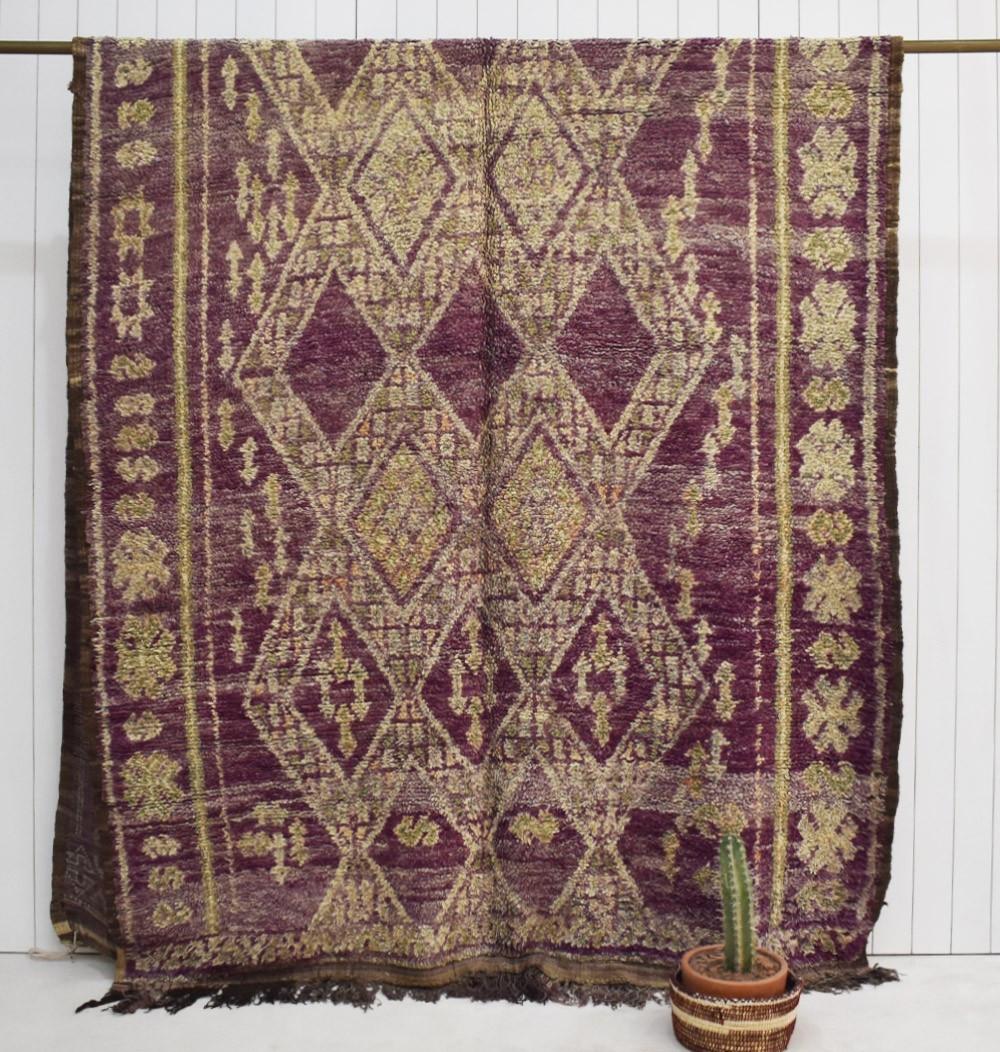 Vintage berber rug aged look purple and beige