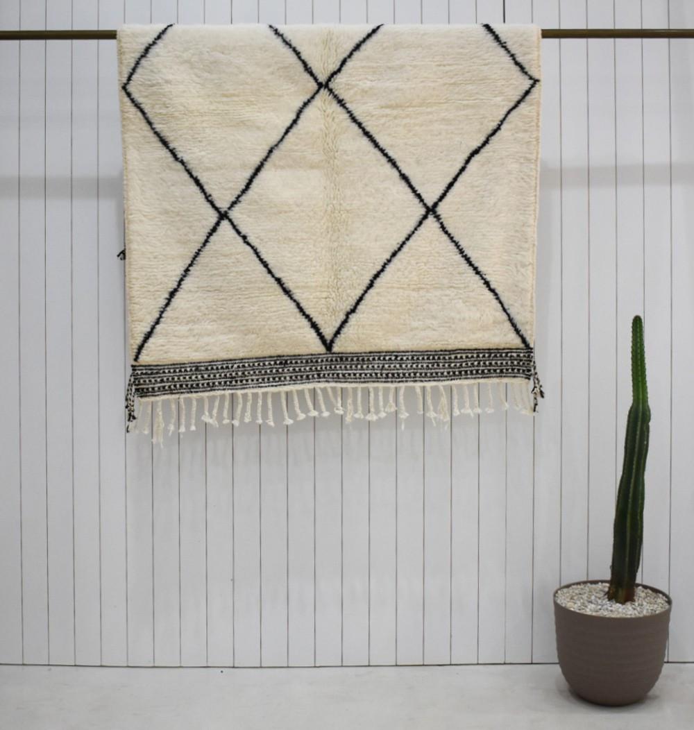 Petit tapis berbère classique noir et blanc