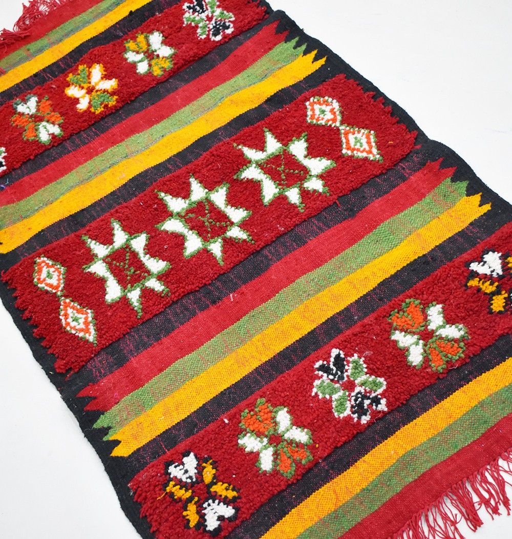 "Small Berber carpet ""Lines and flowers"""