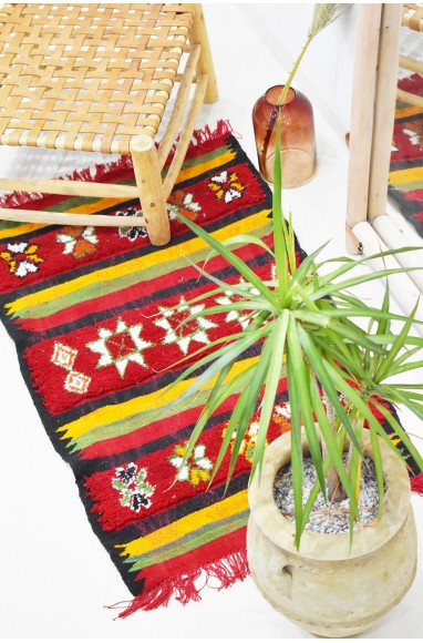 """Small Berber carpet """"Lines and flowers"""""""