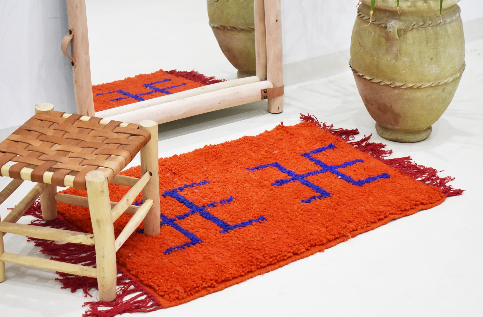 """Small Berber rug """"Fork"""""""
