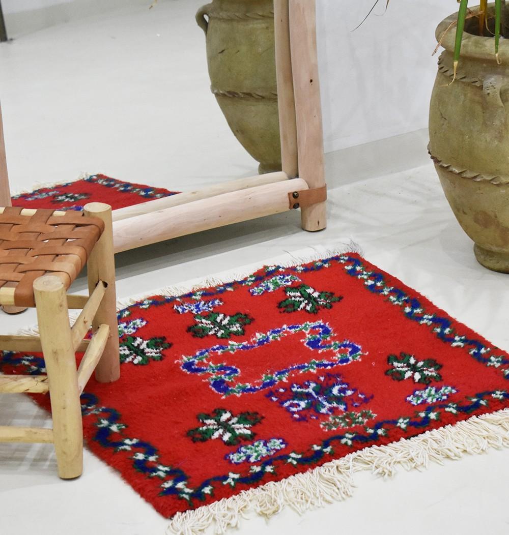 "Small Berber carpet ""Red Square"""