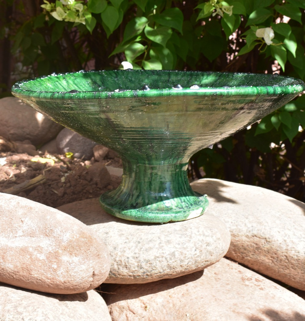 Large green tamgroute salad bowl